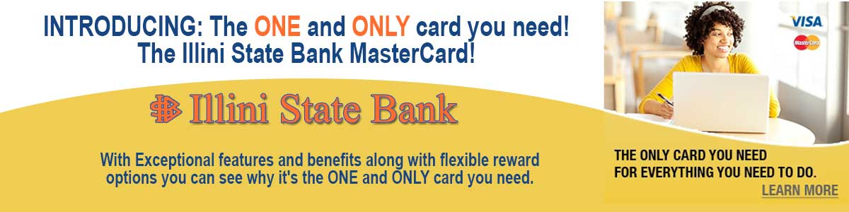 Rotating banner image promoting Illini State Bank master card.